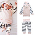 2017 Casual Girls Pink Striped Hooded Hoodies+striped Pants Clothing Set Kids Spring Autumn Cute Tops+ Elastic Trousers Suit