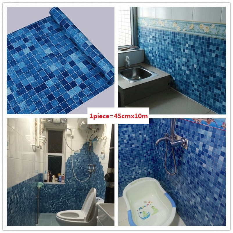 Thick 45cmx10M Kitchen Bathroom Toilet Self Adhesive Mosaic Wallpaper Waterproof Oil Proof Stickers Tiles Renovate Wall Sticker