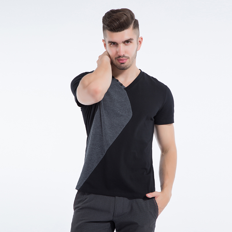Liseaven mens v neck t shirts luxury casual slim fit for Mens slim fit short sleeve shirt