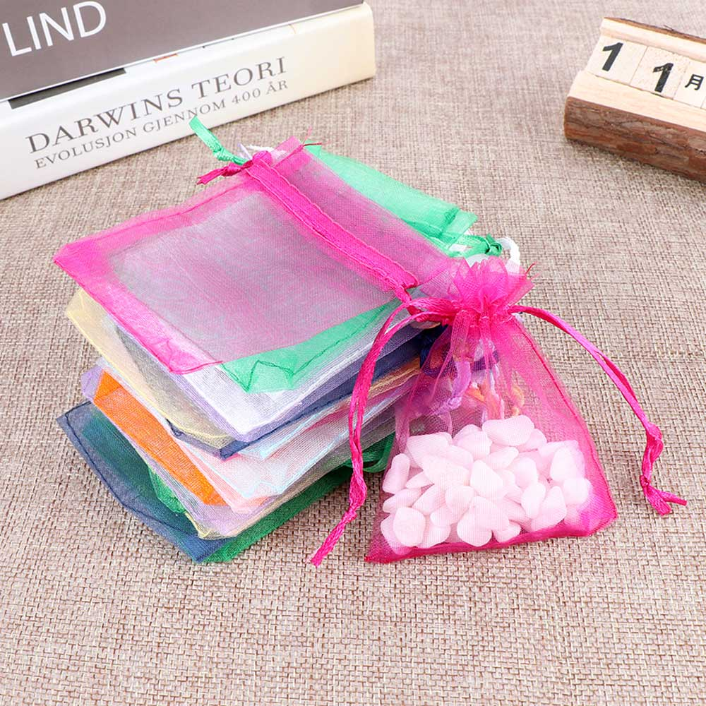 Image 5 - 50pcs/set Organza Bags Wedding Party Decoration Gift Bags Small Jewelry Packaging Gifts Tulle Fabric Organza Sheer Bag Candy Bag-in Gift Bags & Wrapping Supplies from Home & Garden