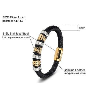 Gold Genuine Leather Stainless Steel Bracelets For Women Bracelets & Bangles Trendy Men Jewelry Fashion Charm Leather Bracelet 3