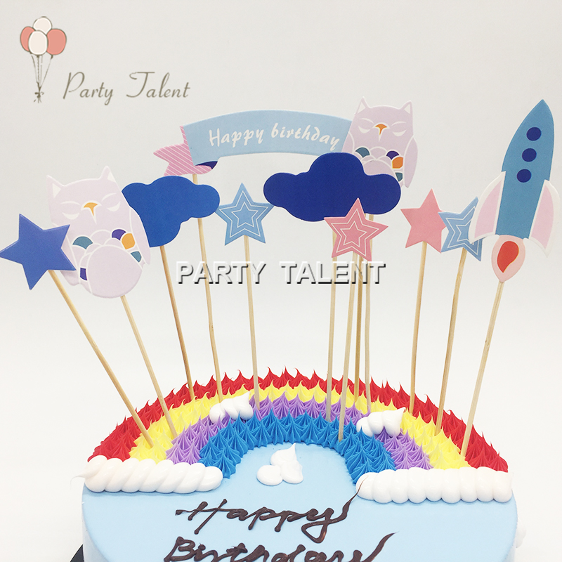 Pleasant 1Set Owl And Rocket Birthday Cake Toppers For Kids Children Funny Birthday Cards Online Hendilapandamsfinfo