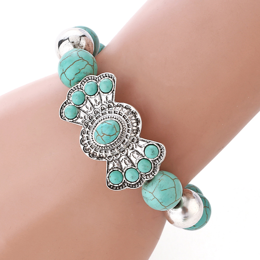 br silver bracelet navajo turquoise stamped traditional ladies