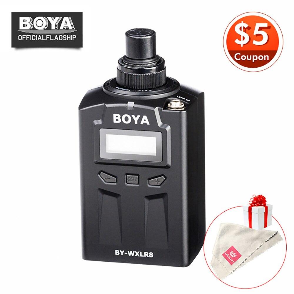 BOYA BY-WXLR8 Plug-on XLR Audio Transmitter with LCD Display UHF Wireless for BY-WM8 BY-WM6 Wireless Lavalier Microphone System