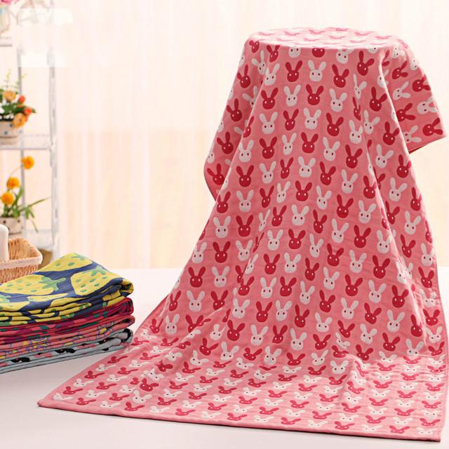 Alta qualidade 70*145 centímetros de três camadas de banho towel 3 camada de gaze de impressão dos desenhos animados do bebê towel toalha de musselina nascidos de banho infantil