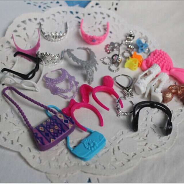 10packs Lot Wholesale Shoes Bags Crown Doll Accessories Package