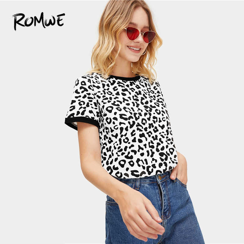 244795d45 ... ROMWE Leopard Print Ringer Tee 2019 Basic All Matched Short Sleeve  Stretchy Summer Tops Chic Women ...