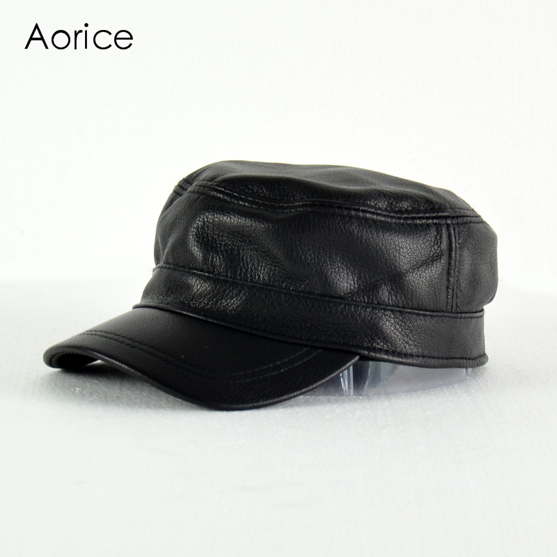 Aorice Genuine Leather Men Baseball Cap Hat High Guality Men's Real Sheep Skin Leather Adult Solid Army Hats Caps HL154-B aorice winter genuine sheepskin leather hat brand new men s warm earmuffs hat man baseball caps leisure fashion brand hats hl030