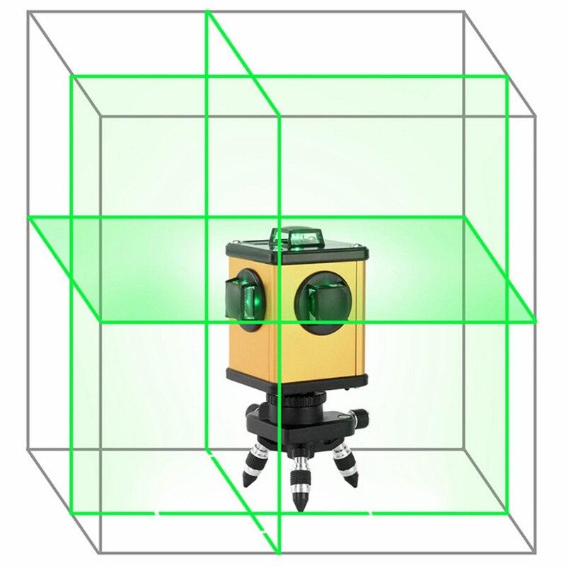 KaiTian Vert Laser Niveau 12 Lignes 360 Rotatif Récepteur Électronique Automatique Auto-Nivellement 3D Laser Nivel 520nm Ligne Lasers outils