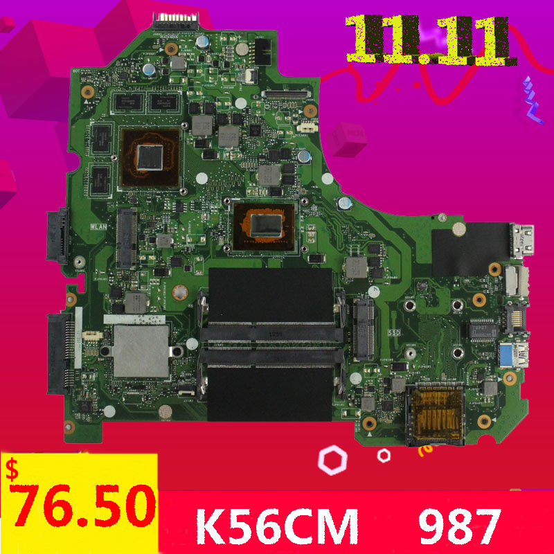 For ASUS K56CB K56CM A56C S550CM Laptop Motherboard 987 CPU PM K56CM motherboard with 2G viedo card original new 100% tested motherboard for asus k56cm s56c s550cm a56c laptop motherboard k56cm mainboard 987 cpu rev 2 0 integrated in stock