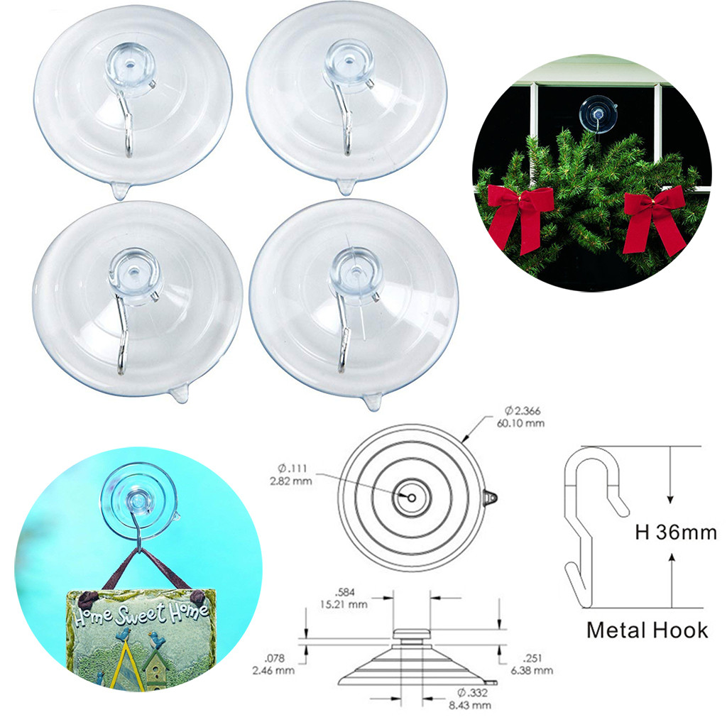 4Pcs/Set Transparent Suction Cups For Kitchen Bathroom Wall Hangers Hooks PVC Large Suction Cup Strong Adhesion Hooks Afford 8 P