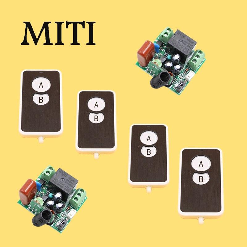 AC220V Mini Size RF Wireless Remote Control Switch System 4pcs Waterproof Transmitter & 2pcs Receivers315/433mhz ac220v rf wireless remote control light lamp switch system 1receiver