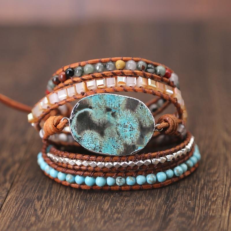 2019 Women Leather Bracelet Unique Mixed Natural Stone Charm 5 Strands Wrap Bracelets Handmade Boho Bracelet jewelry gift bracelet