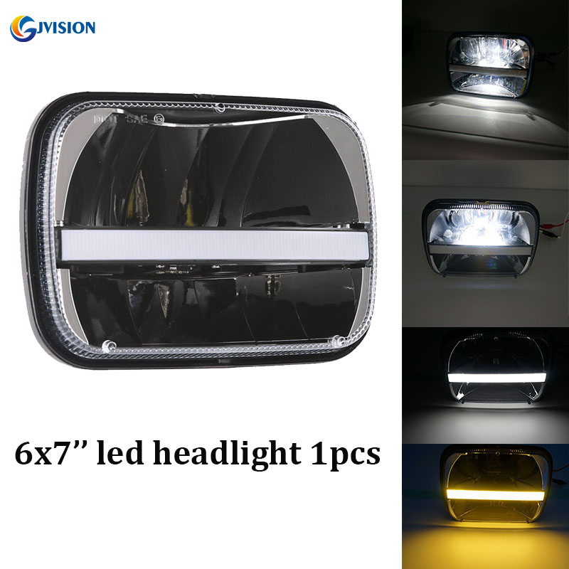 5X7 Inch Rectangular Sealed Beam Led Headlights White DRL Amber Turn Singal Lights For Kawasaki ZRX 1100 And The 1200