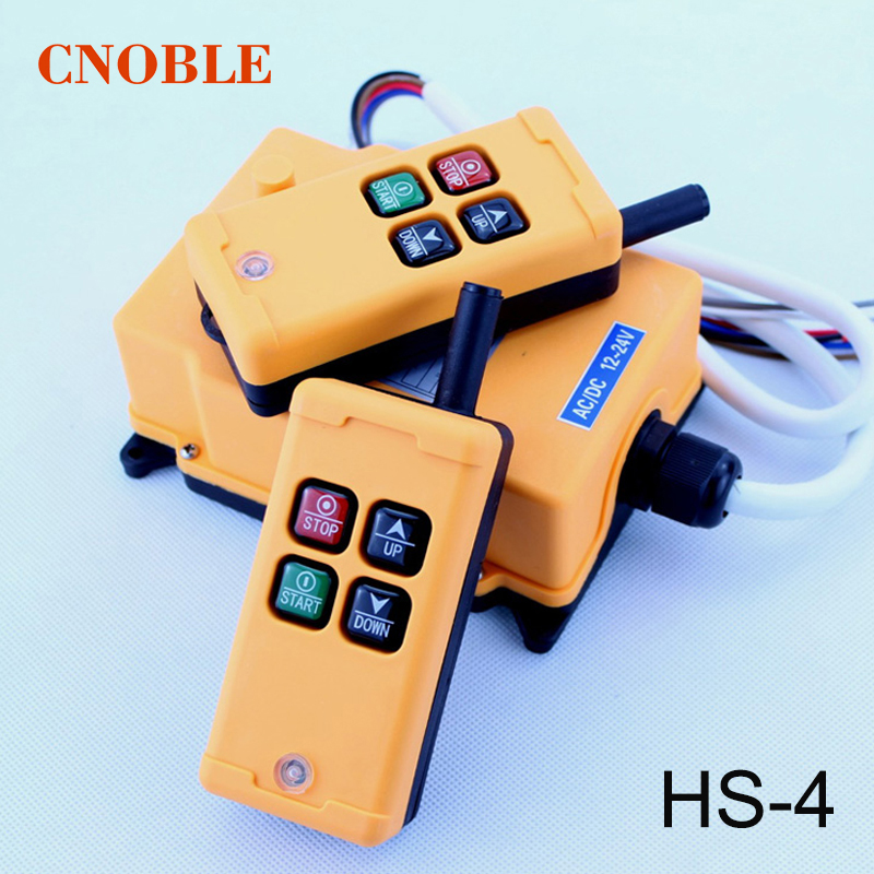 HS-4 4 Channels 1 Speed Control Hoist Industrial Wireles Crane Radio Remote Control Switch 4 keys 1 receiver+ 2 transmitter hs 4 48vdc 4 channels hoist crane radio remote control system