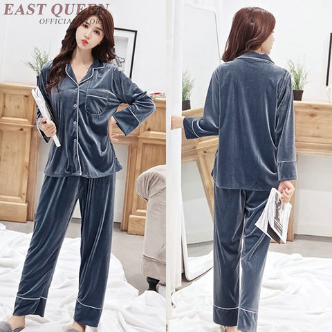 Female sleep & lounge in autumn and spring full sleeve pajama sets turn-down collar sleepwear women home clothes  AA3307  F Multan