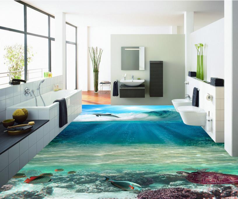 ФОТО Custom 3D Sea World floor 3d flooring PVC HD waterproof self-adheiver floor murals 3d photo wallpaper