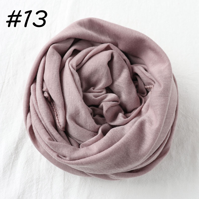 Один кусок хиджаб шарф Макси шали шарфы женские мусульманские хиджабы мусульманская леди палантин splid однотонное Джерси хиджаб 70x160 см - Цвет: 13 lilac pink
