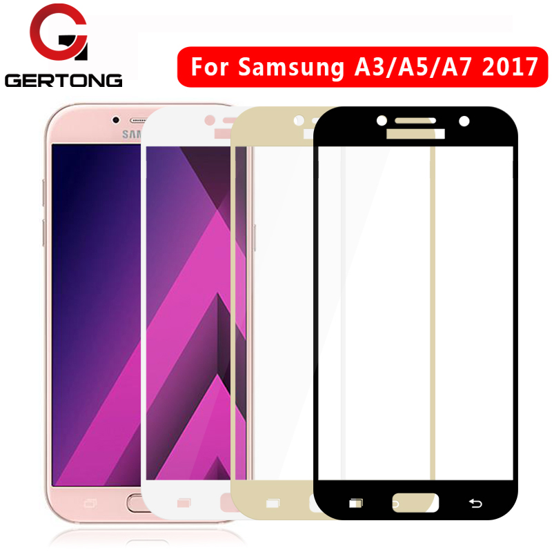 GerTong Full Cover <font><b>Phone</b></font> Tempered Glass For <font><b>Samsung</b></font> Galaxy A3 <font><b>A5</b></font> A520 A7 A720 <font><b>2017</b></font> J3 J5 J7 Screen Protector Protective Film image
