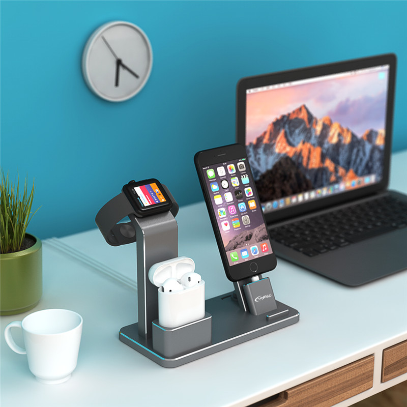 YFW Stand for Apple Watch 4 in 1 AirPods Accessories Charging Dock Phone Holder for iWatch