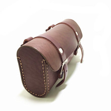 E0985 Retro Bicycle hangback bag vintage saddle bag bike block package Pure cowhide Handmade Tool bag
