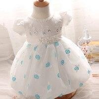 2016 Brand Newborn Baby Gift Toddler Crochet Party Dresses Child Sleeveless Princess White Party Wedding Dress