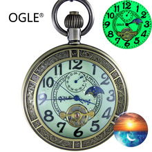 OGLE Waterproof Bronze Luminous Magnifier Tourbillon Phase Mens Women Necklace Chain Self-Winding Mechanical Fob Pocket Watch