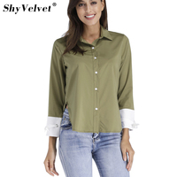 2018 New Women Army Green Blouses Office Ladies Work Wear Patchwork Split Shirt Long Sleeve Stand