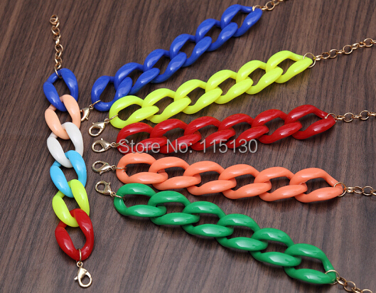 Fishsheep New Fashion Acrylic Chain Link Bracelet For Women Men Bohemian Colorful Cuff Wristband Bracelets & Bangles Jewelry 3