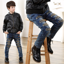 2016 Casual Hole Boys Autumn And Winter Jeans Light Wash Elastic Waist Solid Mid Trousers Children Warm Thicken long pants