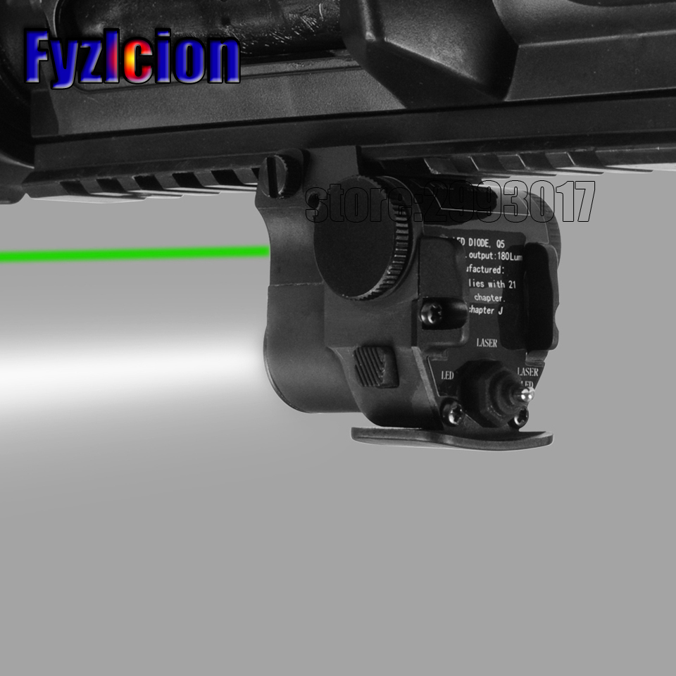 Fyzlcion Green Aiming Laser Sight + LED Flashlight Weapon Light for 20mm Picatinny Rail Rifle and Pistol Handgun Gun Accessory