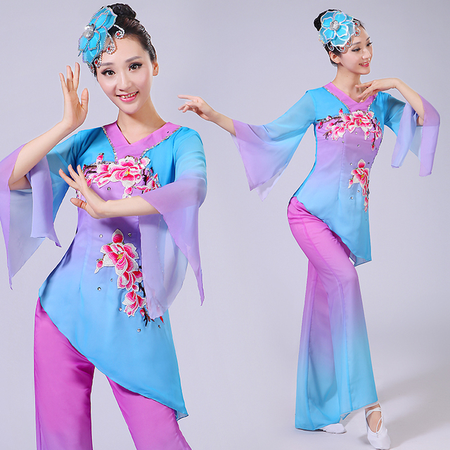 e8ddc90a9 Classical Dance Costumes Yangko Dance Clothing Fan Umbrella Dance Drum  Group Square National Costumes