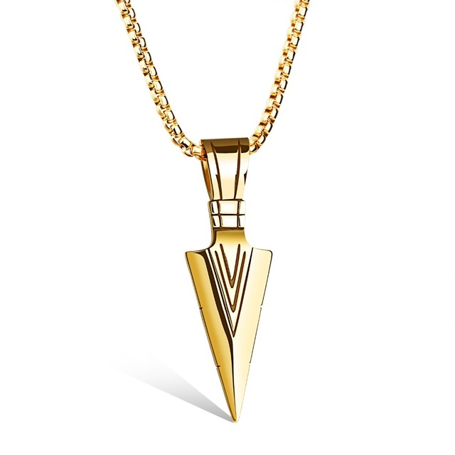 Cool Dormineering Engraved Big V Arrow Necklace Men Gold
