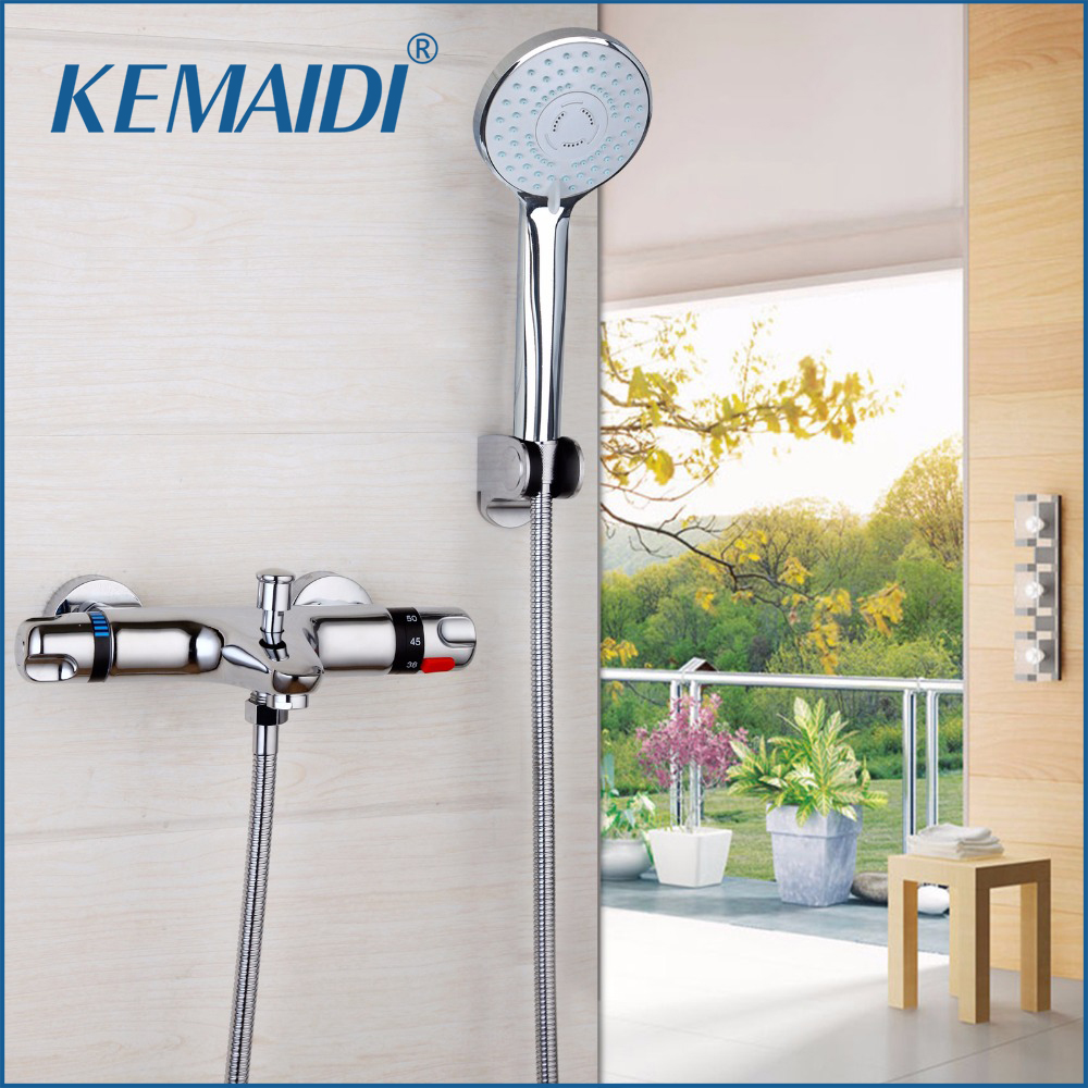 KEMAIDI Hot Model Bathtub And Shower Thermostatic Faucet Shower Mixing Valve Constant Temperature Taps Bathroom Faucets fashion high quality brass chrome thermostatic bathroom shower faucet constant temperature faucet mix water valve full copper