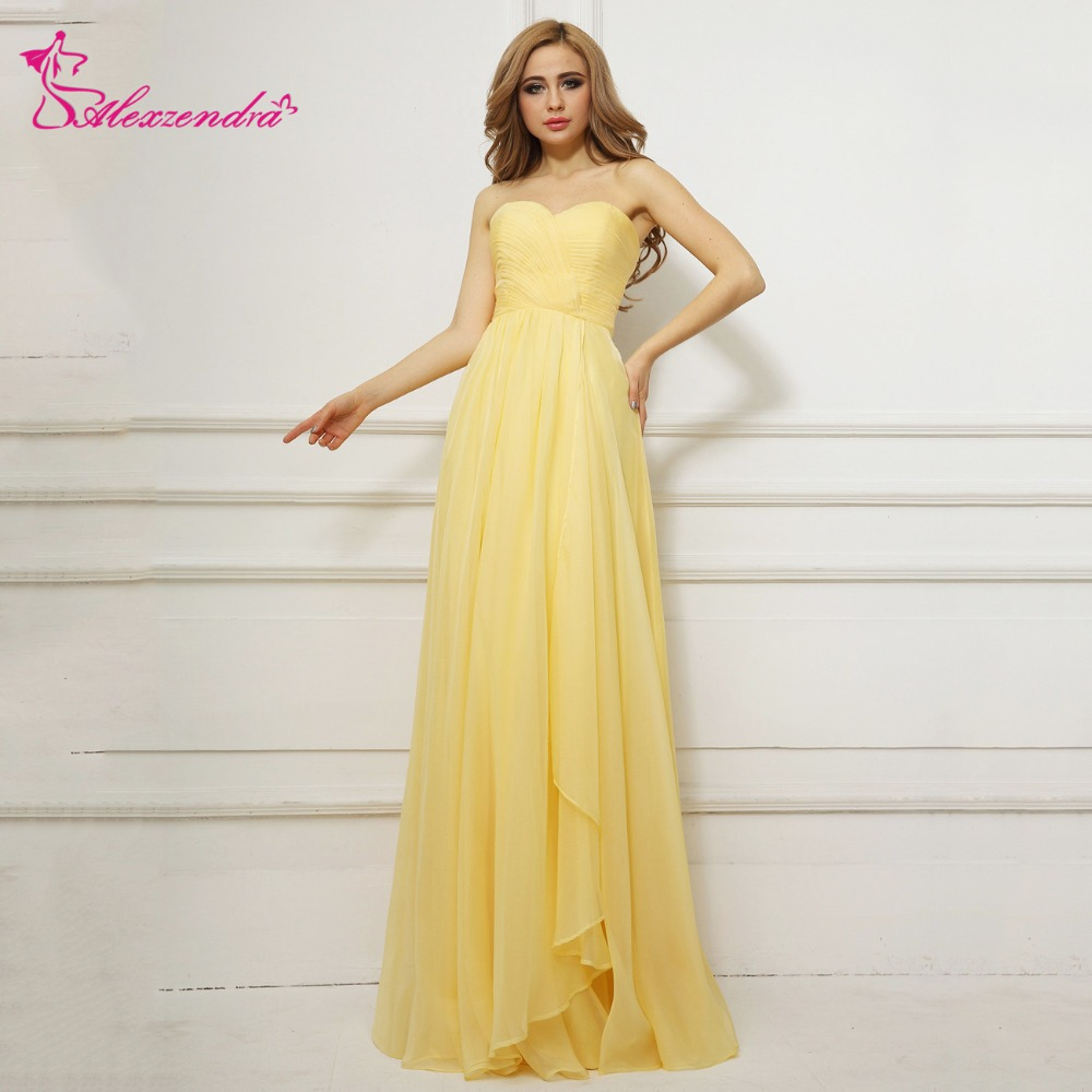 Alexzendra Yellow Simple Chiffon A Line   Prom     Dresses   Evening Gown Party   Dresses   Plus Size