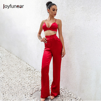 New women Two Piece Outfits deep v CropTop and full length loose Pants Set Women Casual Satin Suits Summer Women Set Femme