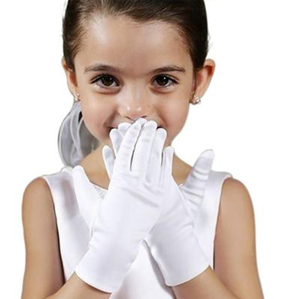 1 Pair Kids Gloves Full Finger Satin Feel Performance Formal Special Occasion Boy Girl Party Dance Dress Elastic Gloves~