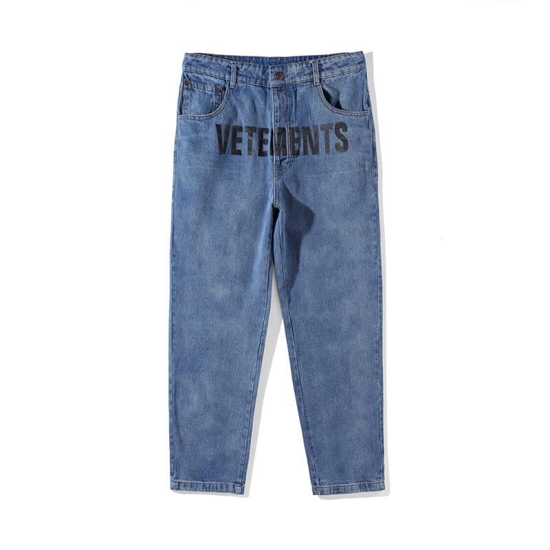 Best Version Sup Vetements Women Men Jeans trouser jumpsuit urban hip hop punk motorcycle blue distressed Vetements Ripped Jeans