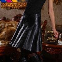Овечьей шкуре юбка черный блеск юбки для Для женщин пикантная короткая юбка Для женщин s 2018 черный Высокая Талия кожаная юбка