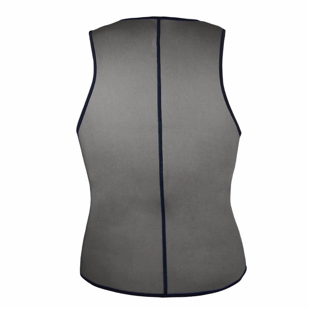Men Latex Ultra Sweat Hot Waist Trainer Body Shaper Slimming Fit Vest Neoprene Front Zipper Fat Borning Control Top Shapewear (2)