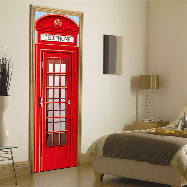 Lovely Pet Door Fridge Sticker London Telephone Box Phone Booth Mural Stickers Home Decoration Drop Shipping 70901