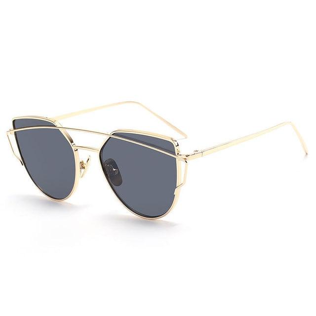 cab3b3a8fd 2017 moda Sol Gafas mujeres gato ojo Gafas de sol famoso señora marca  diseñador twin-