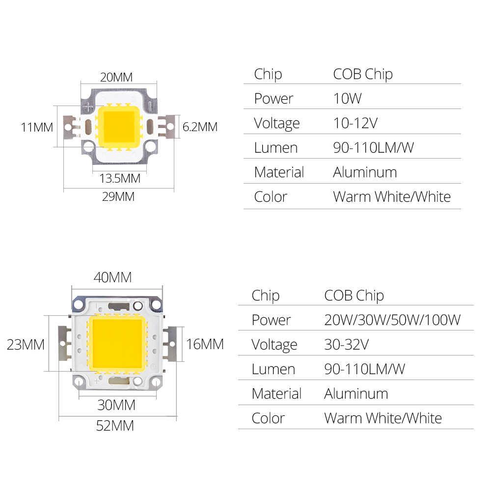 Integrated COB LED Chip 10W 9-12V 20W 30W 50W 100W 30V-36V LED Beads Chip COB For Floodlight Spotlight Searchlight Warm White
