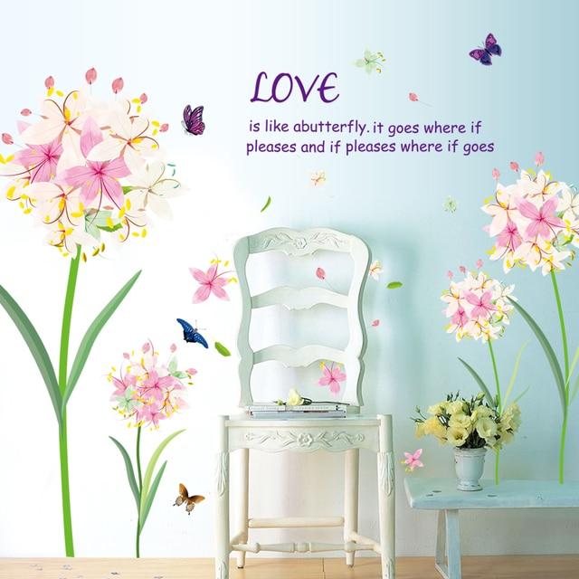 Hortensien DIY Wandaufkleber Wohnzimmer TV/Sofa Hintergrund Dekor  Wandtattoo Tapete Schmetterling Blume Romantische Schlafzimmer Aufkleber