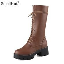PU Platform Mid Calf Boots Women Autumn Ladies Round Toe Shoes New 2019 E078 Fashion Woman Black White  Dark Brown Lace Up Boots цены онлайн