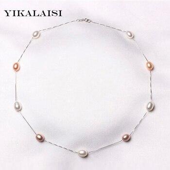 201f852b071f Yicalaisi 2017 collares de perlas naturales 925 joyería de plata de ley para  perlas para mujer collar accesorios regalo de boda