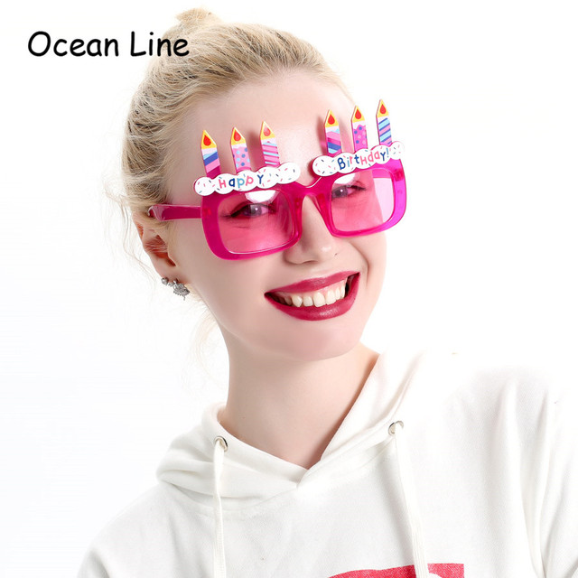 Funny Purple Birthday Cake Candles Happy Props Glasses Novelty Costume Sunglasse Girl Gifts Party Supplies