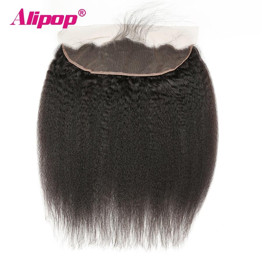 ALIPOP Brazilian Kinky Straight Closure Lace Frontal 13X4 Pre Plucked Ear To Ear Remy Human Hair