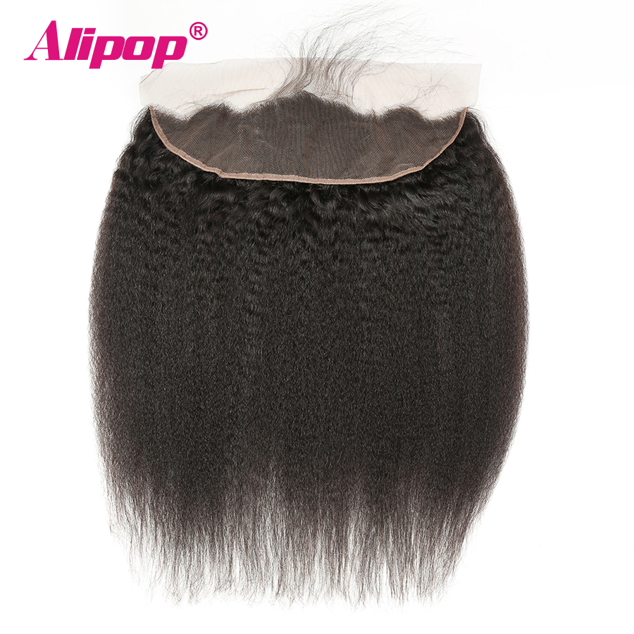 ALIPOP Brazilian Kinky Straight Closure Lace Frontal 13X4 Pre Plucked Ear To Ear Remy Human Hair Closure With Baby Hair Natural