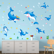 SHIJUEHEZI Dolphin Wall Stickers for Kids Room Baby Bedroom Infant Nursery Decoration DIY Cartoon Animals Wall Decals